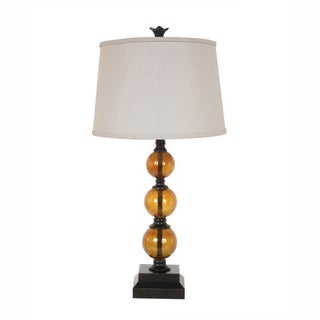 Amber Glass 29-inch Table Lamp with Natural Linen Shade