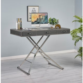 Carolyn Black Bonded Leather Sit and Stand Desk