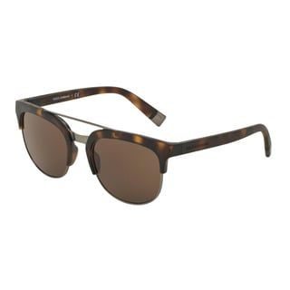 D&G Men's DG6103 302873 Havana Plastic Square Sunglasses