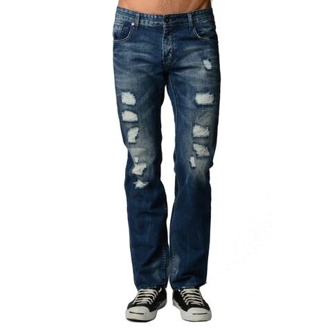 Dinamit Men's Blue Cotton/Polyester Distressed Classic Jeans