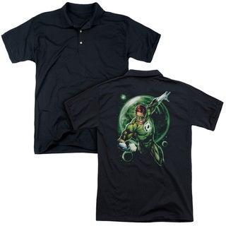 Green Lantern/Galaxy Glow (Back Print) Mens Regular Fit Polo in Black