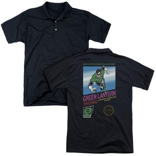 Green Lantern/Box Art (Back Print) Mens Regular Fit Polo in Black