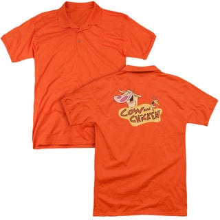 Cow & Chicken/Logo (Back Print) Mens Regular Fit Polo in Orange