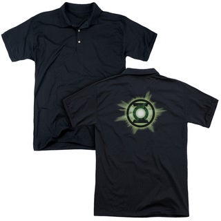 Green Lantern/Green Glow (Back Print) Mens Regular Fit Polo in Black