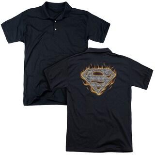 Superman/Steel Fire Shield (Back Print) Mens Regular Fit Polo in Black