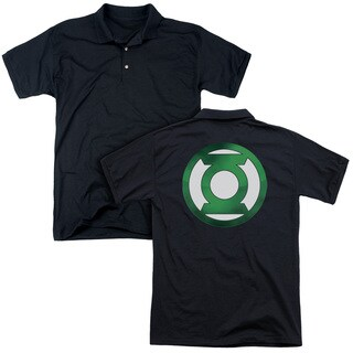 Green Lantern/Green Chrome Logo (Back Print) Mens Regular Fit Polo in Black