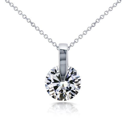 Annello by Kobelli 14k White Gold 1ct Round Moissanite Solitaire Necklace