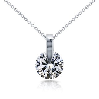 Annello by Kobelli 14k White Gold 1ct Round Moissanite (HI) Solitaire Necklace