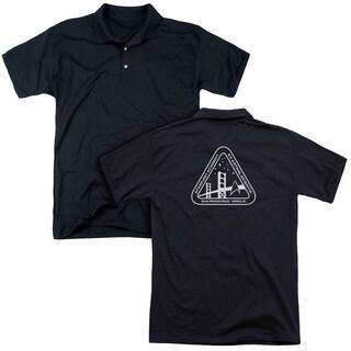 Star Trek/White Academy Logo (Back Print) Mens Regular Fit Polo in Black