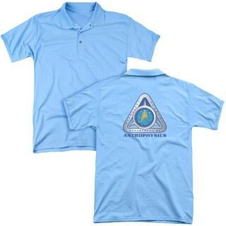 Star Trek/Astrophysics (Back Print) Mens Regular Fit Polo in Carolina Blue