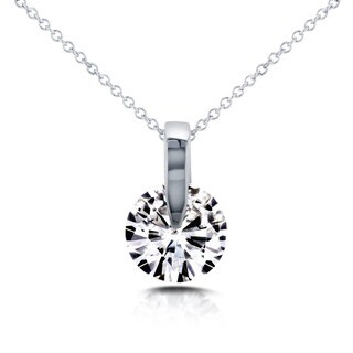 Annello by Kobelli 14k White Gold 1ct Round Moissanite (FG) Solitaire Necklace