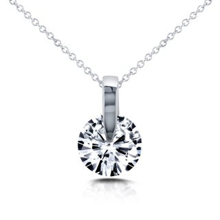 Annello 14k White Gold 1ct Round Forever One Moissanite Solitaire Necklace