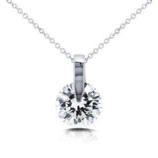 Annello 14k White Gold 1ct Round Diamond Solitaire Necklace (H-I, I1-I2)
