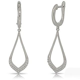 Kabella Sterling Silver Cubic Zirconia Open Teardrop Dangling Earring