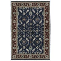 Hand-Tufted Perry Navy Global Wool Rug - 5' x 7'9""