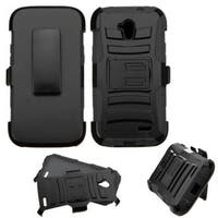 Insten Black Hard PC/ Silicone Dual Layer Hybrid Case Cover with Stand/ Holster For ZTE Allstar
