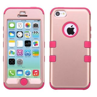 Insten Pink Tuff Hard PC/ Silicone Dual Layer Hybrid Rubberized Matte Case Cover For Apple iPhone 5C