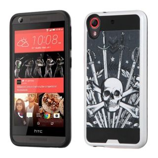Insten Black/ White Sword  Skull Hard PC/ Silicone Dual Layer Hybrid Rubberized Matte Case Cover For HTC Desire 626/ 626s