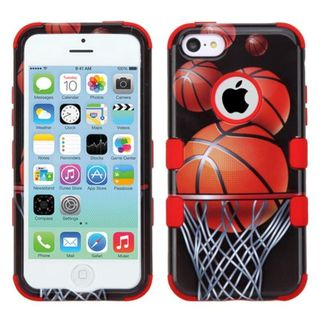 Insten Brown/ Black Basketball Hoop Tuff Hard PC/ Silicone Dual Layer Hybrid Rubberized Matte Case Cover For Apple iPhone 5C