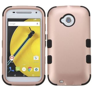 Insten Rose Gold/ Black Tuff Hard PC/ Silicone Dual Layer Hybrid Rubberized Matte Case Cover For Motorola Moto E(2nd Gen)