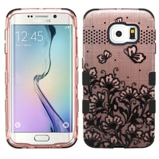 Insten Black Lace Flowers Tuff Hard PC/ Silicone Dual Layer Hybrid Rubberized Matte Case Cover For Samsung Galaxy S6 Edge