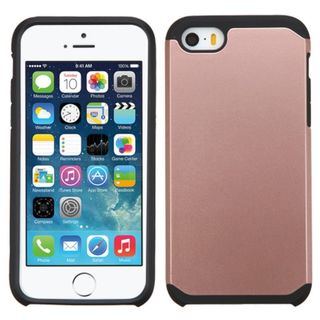 Insten Rose Gold/ Black Hard PC/ Silicone Dual Layer Hybrid Rubberized Matte Case Cover For Apple iPhone 5/ 5S/ SE