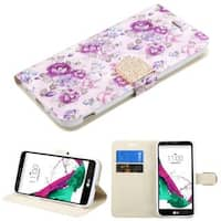 Insten Purple/ White Flowers Leather Case Cover with Stand/ Wallet Flap Pouch/ Diamond For LG G5