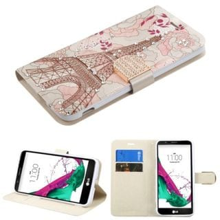 Insten Pink/ White Eiffel Tower Leather Case Cover with Stand/ Wallet Flap Pouch/ Diamond For LG G5