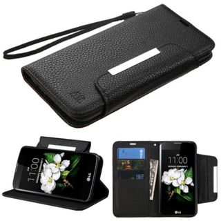 Insten Black Leather Case Cover Lanyard with Stand/ Wallet Flap Pouch For LG K7