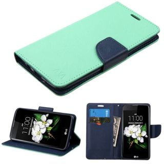 Insten Green/ Blue Leather Case Cover with Stand/ Wallet Flap Pouch For LG K7