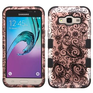 Insten Rose Gold/ Black Four-leaf Clover Tuff Hard PC/ Silicone Dual Layer Hybrid Case Cover For Samsung Galaxy J3