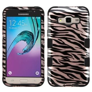 Insten Rose Gold/ Black Zebra Tuff Hard PC/ Silicone Dual Layer Hybrid Rubberized Matte Case Cover For Samsung Galaxy J3