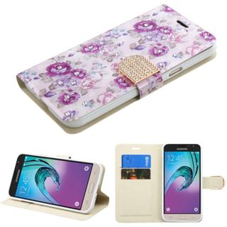 Insten Purple/ White Flowers Leather Case Cover with Stand/ Wallet Flap Pouch/ Diamond For Samsung Galaxy J3