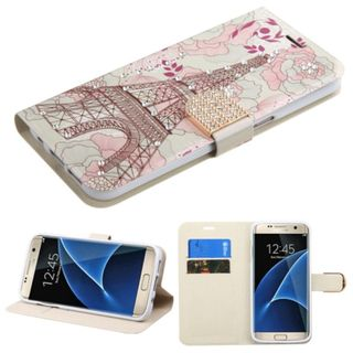 Insten Pink/ White Eiffel Tower Leather Case Cover with Stand/ Wallet Flap Pouch/ Diamond For Samsung Galaxy S7 Edge