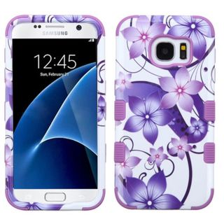 Insten Purple/ White Hibiscus Flower Romance Tuff Hard PC/ Silicone Dual Layer Hybrid Case Cover For Samsung Galaxy S7