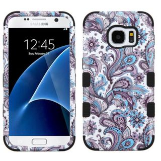 Insten Purple/ White European Flowers Tuff Hard PC/ Silicone Dual Layer Hybrid Rubberized Matte Case Cover For Samsung Galaxy S7