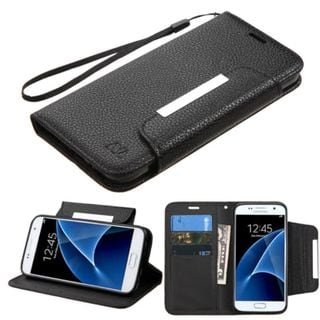Insten Black Leather Case Cover Lanyard with Stand/ Wallet Flap Pouch For Samsung Galaxy S7