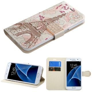 Insten Pink/ White Eiffel Tower Leather Case Cover with Stand/ Wallet Flap Pouch/ Diamond For Samsung Galaxy S7