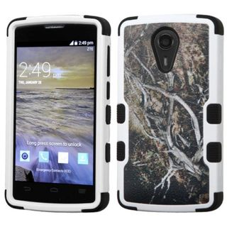 Insten Yellow/ Black Vines Tuff Hard PC/ Silicone Dual Layer Hybrid Rubberized Matte Case Cover For ZTE N817