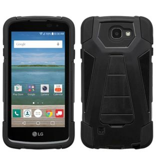 Insten Hard PC/ Silicone Dual Layer Hybrid Case Cover with Stand For LG Optimus Zone 3/ Spree