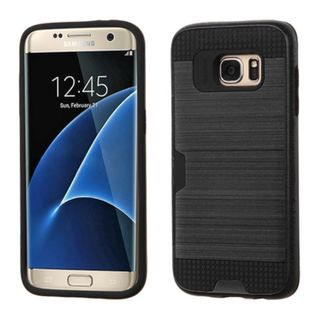 Insten Hard PC/ Silicone Dual Layer Hybrid Rubberized Matte Case Cover with Card Slot For Samsung Galaxy S7 Edge