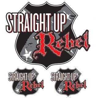 Pilot Automotive 6-inch x 8-inch Straight Up Rebel Vehicle Car Decal Stickers