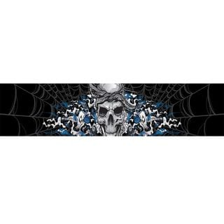 Pilot Automotive 5-inch x 60-inch  Gambling Skull Blue Sunvisor Vehicle Car Decal Stickers