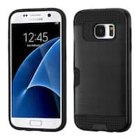 Insten Hard PC/ Silicone Dual Layer Hybrid Rubberized Matte Case Cover with Card Slot For Samsung Galaxy S7