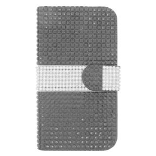 Insten Black/ Silver Leather Diamond Bling Case Cover with Wallet Flap Pouch For Samsung Galaxy S6