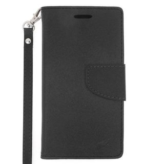 Insten Black Leather Case Cover Lanyard with Stand/ Wallet Flap Pouch For Samsung Galaxy S6