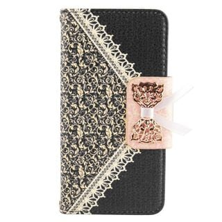 Insten Black/ Gold Leather Case Cover with Stand/ Wallet Flap Pouch For Samsung Galaxy S6