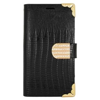 Insten Black/ Gold Leather Case Cover with Wallet Flap Pouch/ Diamond For Samsung Galaxy S6