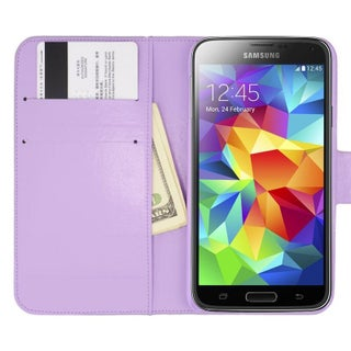 Insten Black Leather Diamond Bling Case Cover with Wallet Flap Pouch For Samsung Galaxy S5 (Option: Purple)