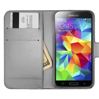 Insten Black Leather Diamond Bling Case Cover with Wallet Flap Pouch For Samsung Galaxy S5